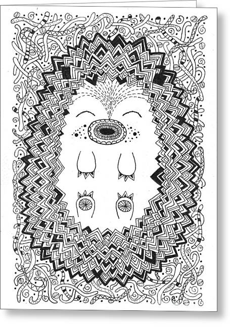 Geometric Animal Greeting Cards - Happy Hog Greeting Card by Susan Claire