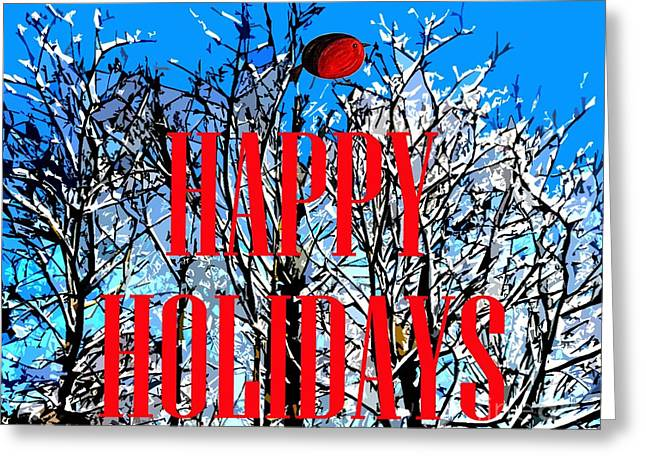 Winter Trees Mixed Media Greeting Cards - Happy Holidays 1 Greeting Card by Patrick J Murphy