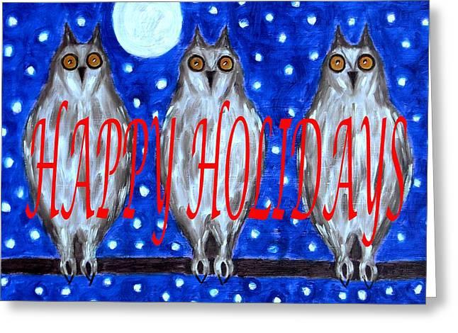 Snow Tree Prints Mixed Media Greeting Cards - Happy Holidays 79 Greeting Card by Patrick J Murphy