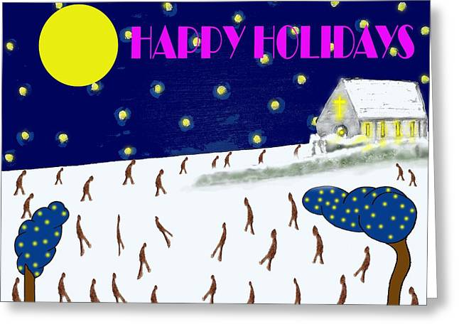 Chapel Mixed Media Greeting Cards - Happy Holidays 80 Greeting Card by Patrick J Murphy
