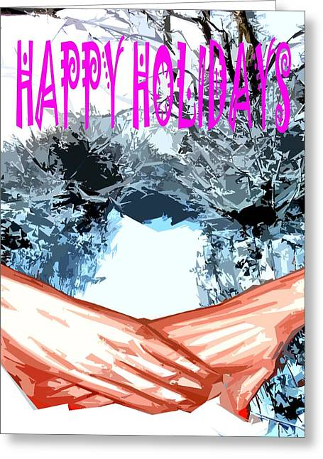 Snow Tree Prints Mixed Media Greeting Cards - Happy Holidays 81 Greeting Card by Patrick J Murphy