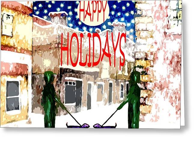 Snow Tree Prints Mixed Media Greeting Cards - Happy Holidays 83 Greeting Card by Patrick J Murphy