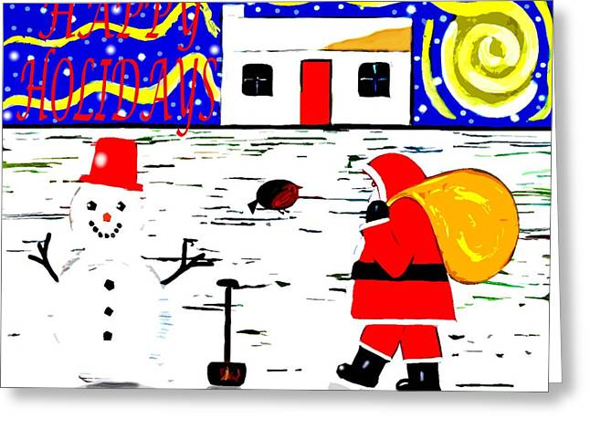Playing Cards Mixed Media Greeting Cards - Happy Holidays 84 Greeting Card by Patrick J Murphy