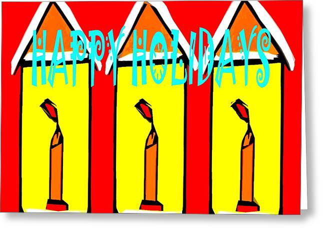 Cute Mixed Media Greeting Cards - Happy Holidays 96 Greeting Card by Patrick J Murphy