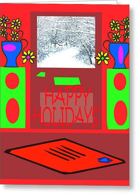 Snow Tree Prints Mixed Media Greeting Cards - Happy Holidays 98 Greeting Card by Patrick J Murphy