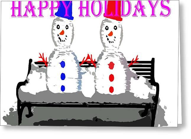 Snow Tree Prints Mixed Media Greeting Cards - Happy Holidays 99 Greeting Card by Patrick J Murphy