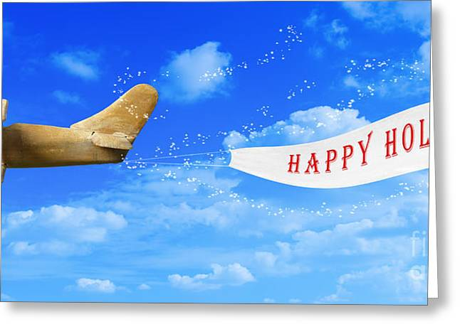 Toy Planes Greeting Cards - Happy Holidays Banner Greeting Card by Amanda And Christopher Elwell