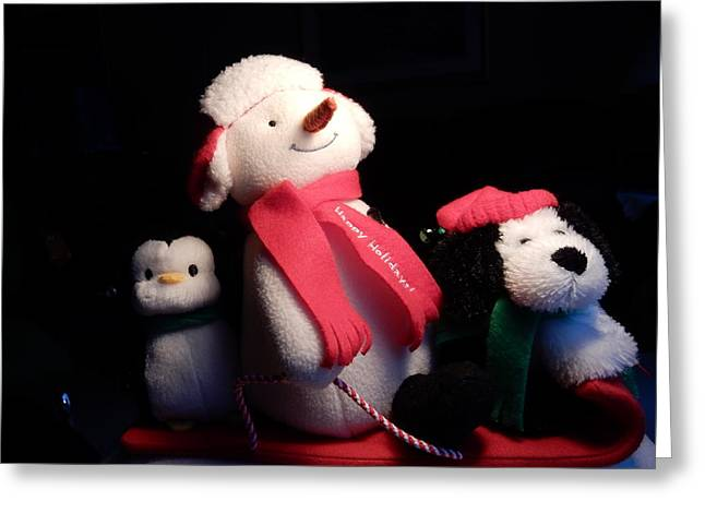 Tobogganing Greeting Cards - Happy Holidays Greeting Card by Betty-Anne McDonald