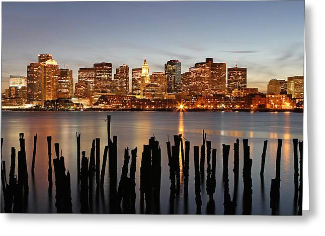 Boston Skyline Photo Greeting Cards - Happy Holidays Boston Greeting Card by Juergen Roth