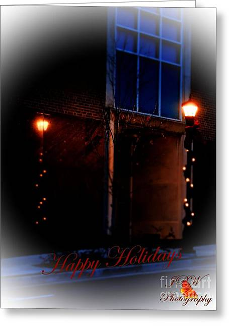 Night Lamp Greeting Cards - Happy Holidays By Lamp Light Greeting Card by Jannice Walker
