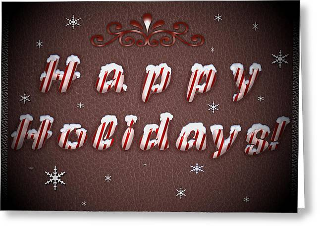 Christmas Greeting Greeting Cards - Happy Holidays Candy Cane Wishes Greeting Card by Georgeta Blanaru
