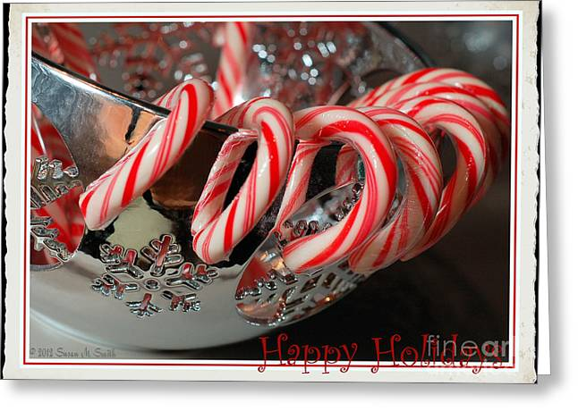 Susan M. Smith Greeting Cards - Happy Holidays Candy Canes Greeting Card by Susan Smith