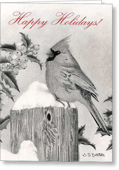 Berry Drawings Greeting Cards - Happy Holidays- Cardinal And Holly Greeting Card by Sarah Batalka