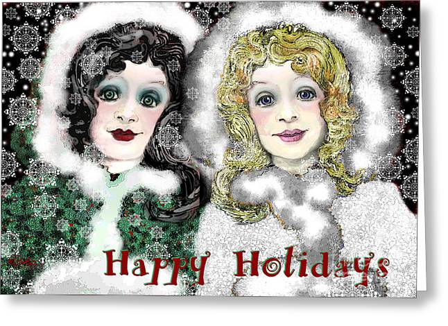 White As Snow Greeting Cards - Happy Holidays Greeting Card by Carol Jacobs