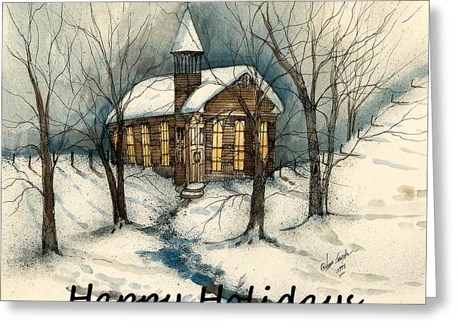 Old Saint Nick Greeting Cards - Happy Holidays Country Church  Greeting Card by Anna Sandhu Ray