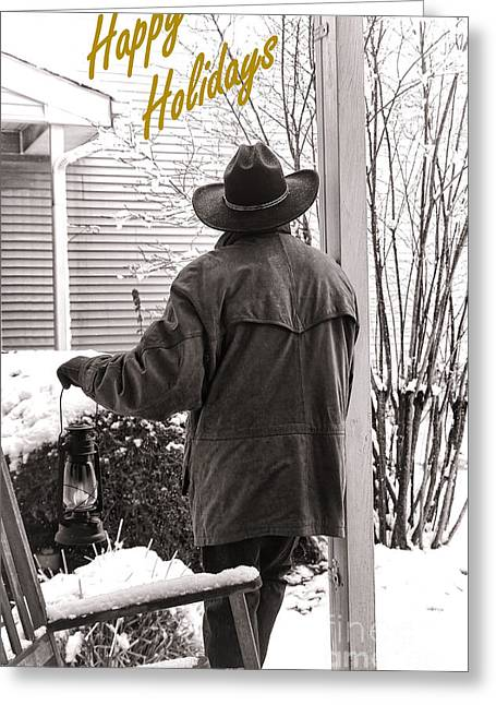 New Year Greeting Cards - Happy Holidays Cowboy Greeting Card by Olivier Le Queinec