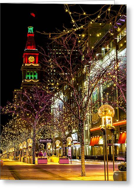 Happy Holidays Downtown Denver Co Greeting Card by Teri Virbickis