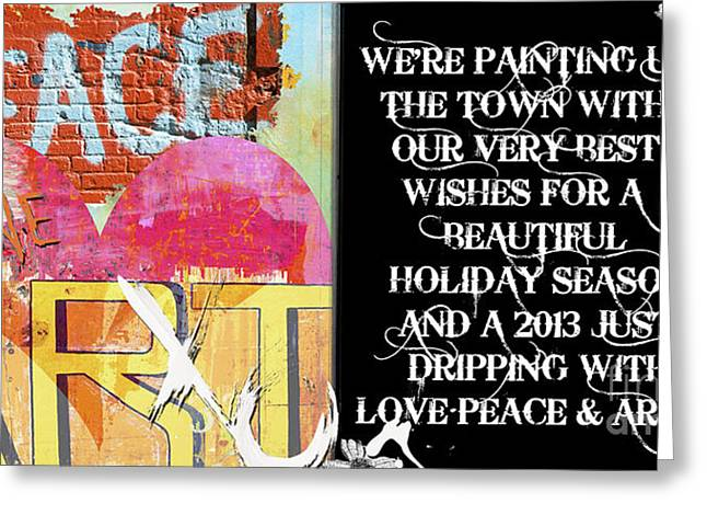 Juvenile Wall Decor Mixed Media Greeting Cards - Happy Holidays - Happy 2013 Greeting Card by ArtyZen Studios