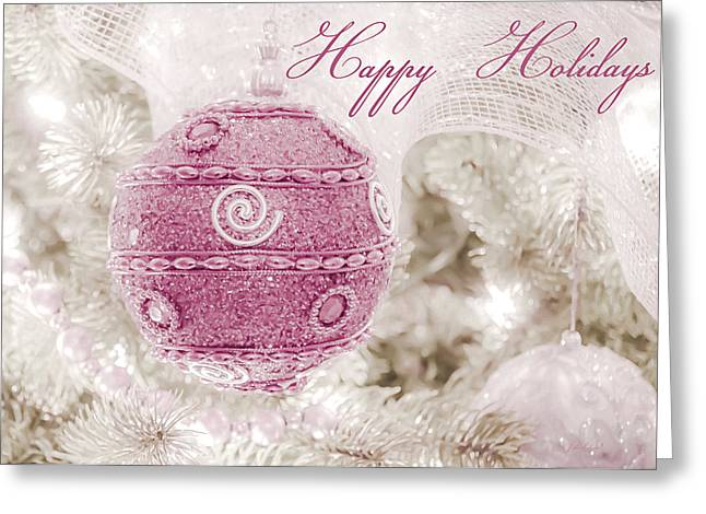 Christmas Greeting Greeting Cards - Happy Holidays in Pink and White Greeting Card by Julie Palencia