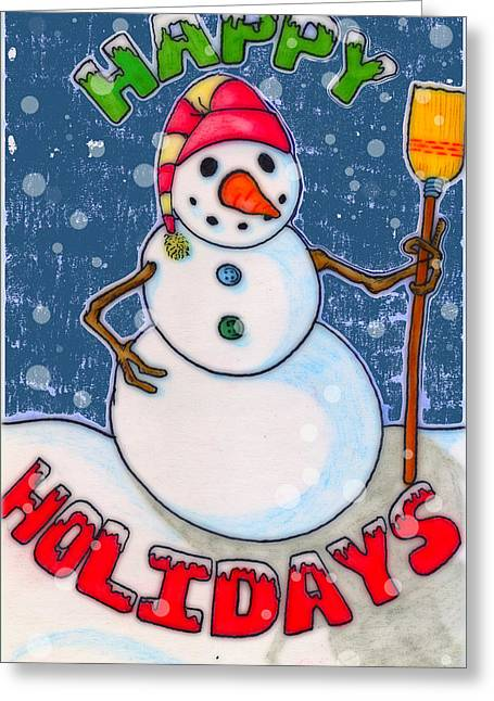 Frosty Mixed Media Greeting Cards - Happy Holidays Greeting Card by Jame Hayes