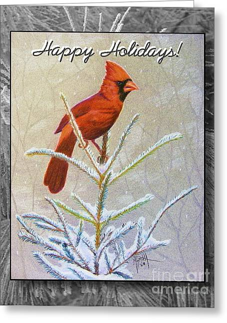 Trees In Snow Drawings Greeting Cards - Happy Holidays Greeting Card by Marilyn Smith