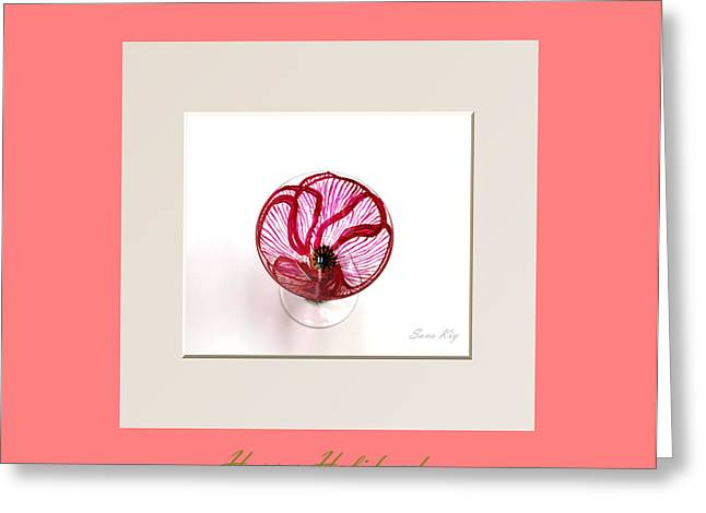 Collection Glass Art Greeting Cards - Happy Holidays. Poppy Greeting Card by Oksana Semenchenko