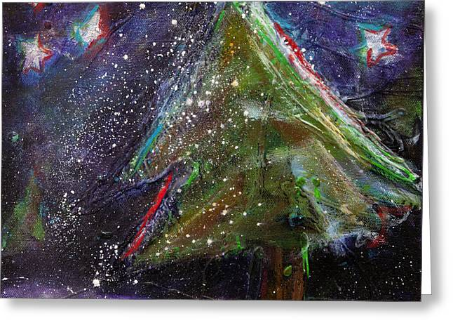 Snowy Night Night Greeting Cards - Happy Holidays Red and Blue Wishing Stars Greeting Card by Johane Amirault