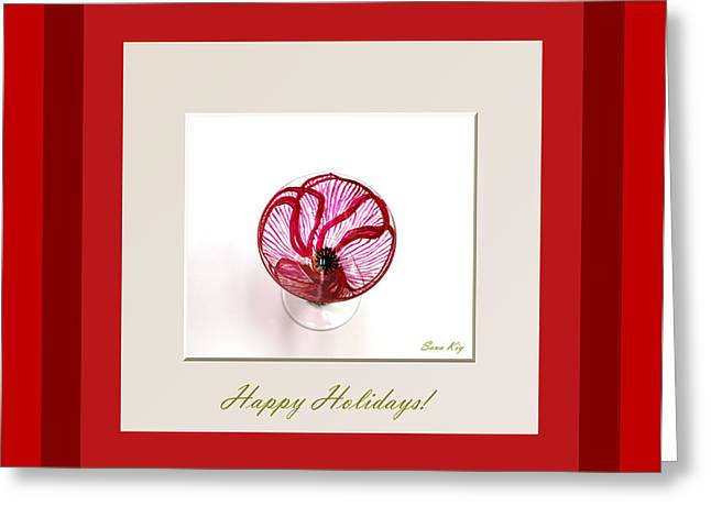 Collection Glass Art Greeting Cards - Happy Holidays. Red Poppy Greeting Card by Oksana Semenchenko