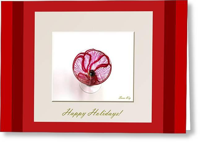 Greeting Card Glass Greeting Cards - Happy Holidays. Red Poppy Greeting Card by Oksana Semenchenko
