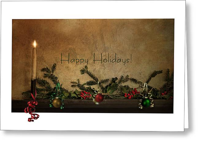 Christmas Candle Greeting Cards - Happy Holidays Greeting Card by Robin-lee Vieira