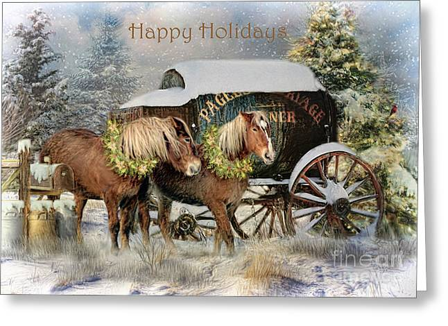 Wagon Mixed Media Greeting Cards - Happy Holidays Greeting Card by Trudi Simmonds