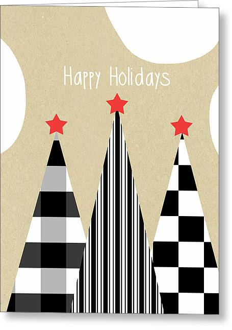 Primitives Greeting Cards - Happy Holidays with Black and White Trees Greeting Card by Linda Woods