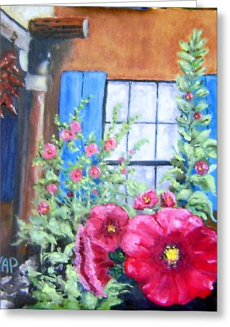 Adobe Pyrography Greeting Cards - Happy Hollyhocks Greeting Card by Valerie Ann Peterson