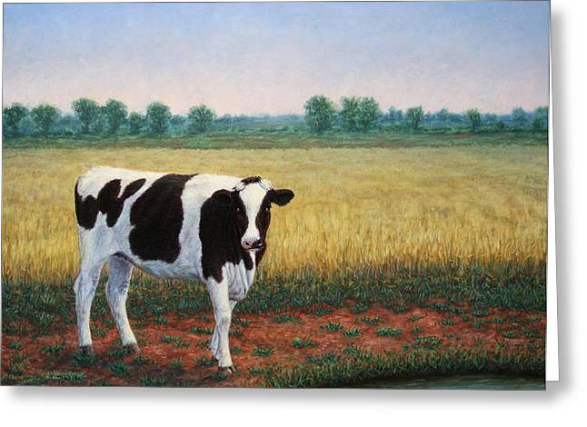 Happy Holstein Greeting Card by James W Johnson