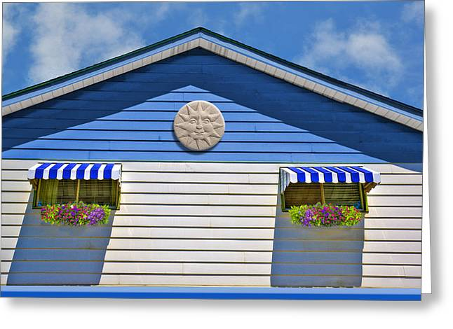Purple Awnings Greeting Cards - Happy Home Greeting Card by Paul Wear