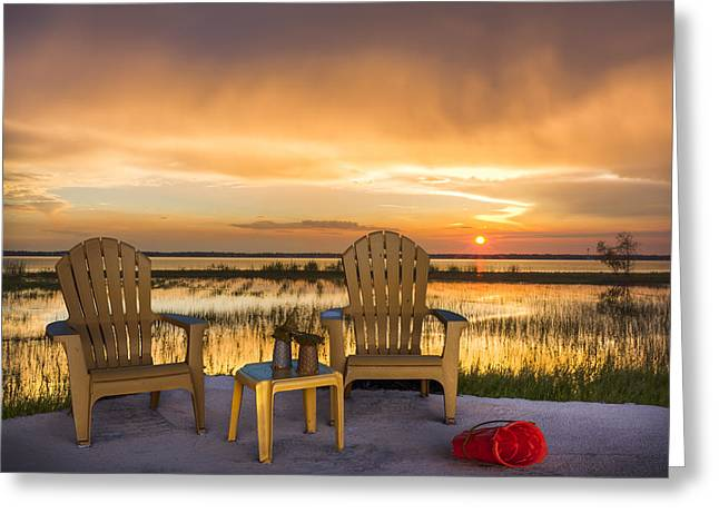 Happy Hour At The Lake Greeting Card by Debra and Dave Vanderlaan