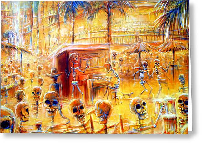 Cantina Greeting Cards - Happy Hour closer view Greeting Card by Heather Calderon