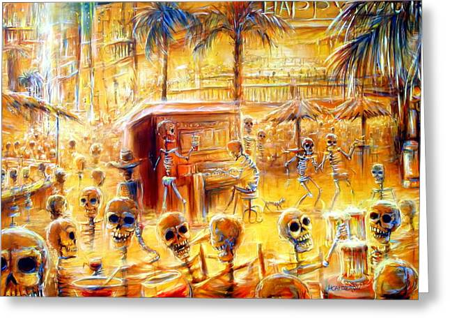 Cantina Greeting Cards - Happy Hour Greeting Card by Heather Calderon
