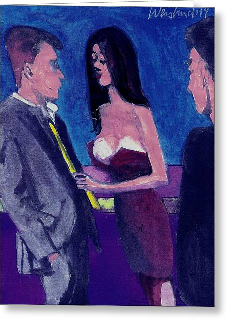 Low-cut Dress Greeting Cards - Happy Hour Love and  Romance Greeting Card by Harry WEISBURD