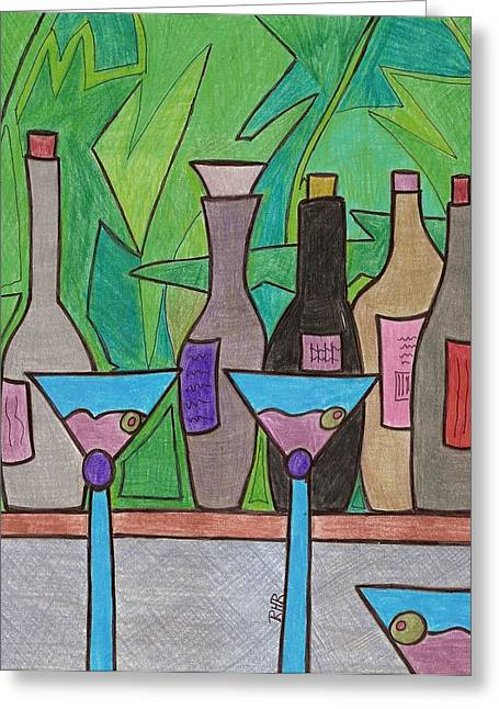 Glass Bottle Drawings Greeting Cards - Happy Hour Greeting Card by Ray Ratzlaff