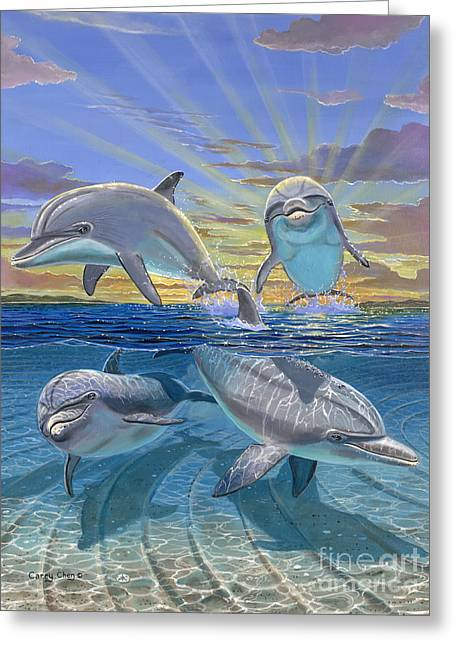 Dolphin Greeting Cards - Happy Hour Re003 Greeting Card by Carey Chen