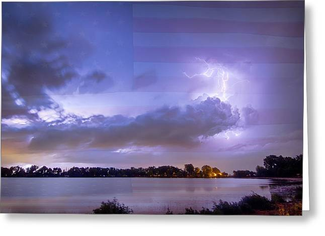 The Lightning Man Greeting Cards - Happy Independence Day Greeting Card by James BO  Insogna