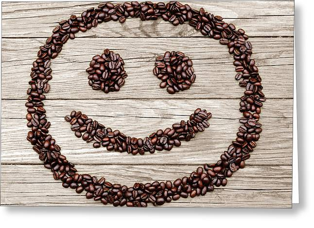 Fresh Food Greeting Cards - Happy Java Face Greeting Card by Luke Moore