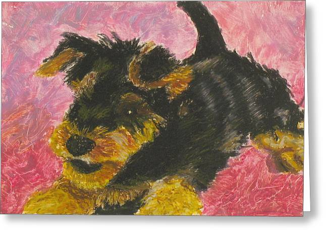 Puppies Pastels Greeting Cards - Happy Greeting Card by Jeanne Fischer