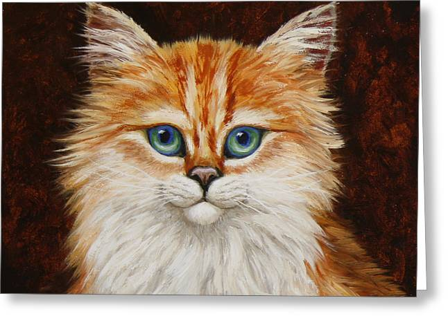 Orange Tabby Paintings Greeting Cards - Happy Kitty Greeting Card by Crista Forest