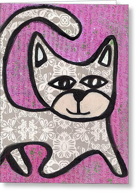 Chihuahua Artwork Greeting Cards - Happy Kitty Greeting Card by Jen Kelly Hirai