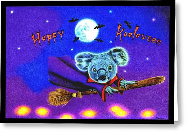 Flying Animal Drawings Greeting Cards - Happy Koalaween Greeting Card by Heidi Vormer