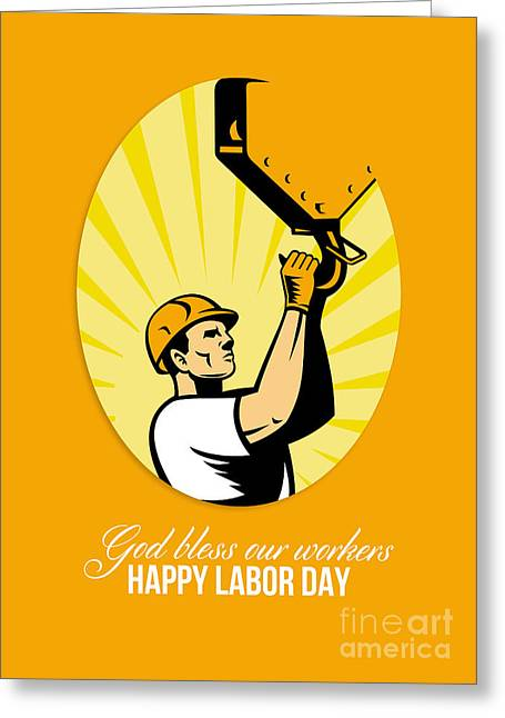 Labor Day Greeting Cards - Happy Labor Day Retro Poster Greeting Card Greeting Card by Aloysius Patrimonio