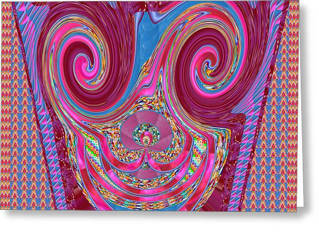 Personal Mixed Media Greeting Cards - Happy laughing purple ribbbon  Mask   Greeting Card by Navin Joshi
