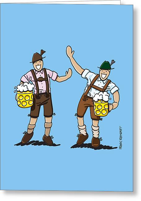 Celebration Greeting Cards - Happy Lederhosen Men With Beer Stein Greeting Card by Frank Ramspott